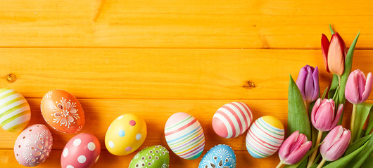 Colorful Easter egg panorama banner