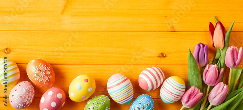 Photo  Colorful Easter egg panorama banner