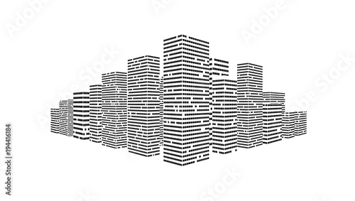 Valokuva  Simple City Illustration On White Background