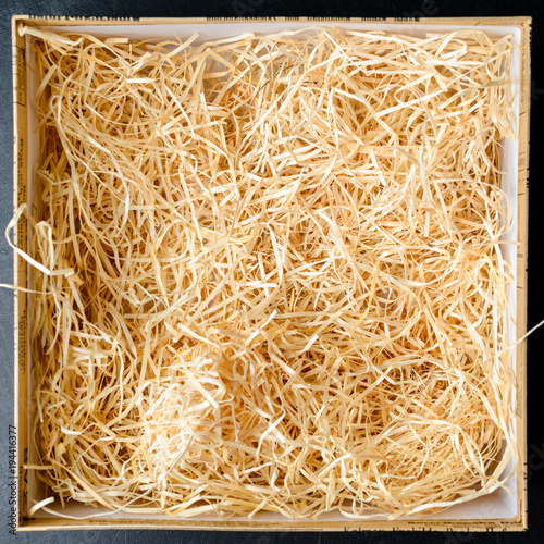 Fotografie, Obraz  Composition with decorative straw in a box, close-up