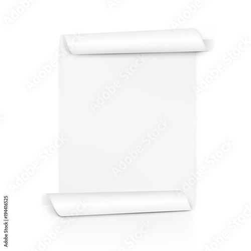Fotografie, Tablou Clear White Paper Scroll. Sheet Roll On Both Sides