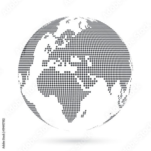 Photo Stands World Map Globe shape, World map created from dots. Vector illustration