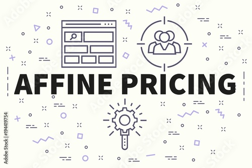 Conceptual business illustration with the words affine pricing Wallpaper Mural