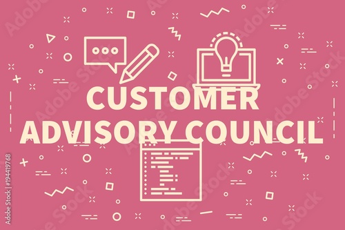 Photo Conceptual business illustration with the words customer advisory council