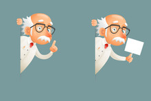 Look Out Corner Old Wise Scientist Character Icons Cartoon Design Vector Illustration