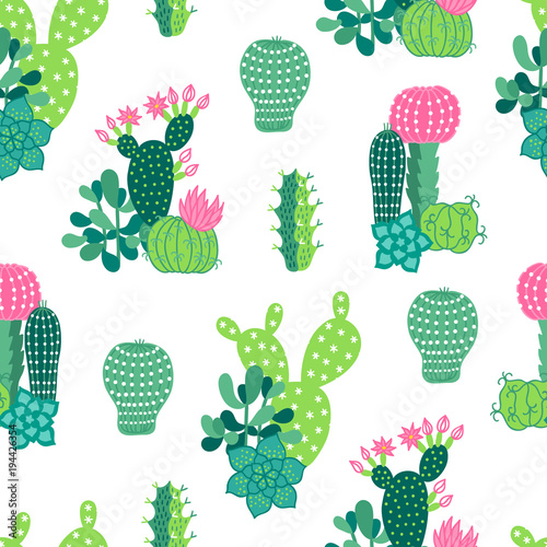 Cadres-photo bureau Aquarelle la Nature Vector seamless pattern with succulents and booming cactuses