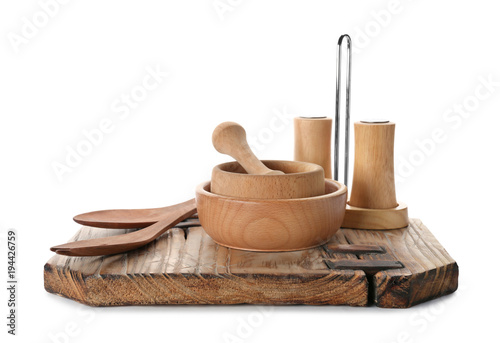 Photo Stands Herbs 2 Wooden kitchen utensils on white background
