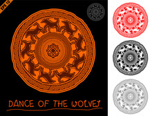 Mandala In Primitive, Ethnic Style Rock Cave Figure With Animal Ornament Of The Wolves And A Solar Sign In The Center