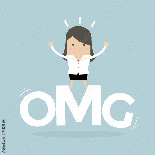 Photo Businesswoman surprise stand on oh my god word. vector