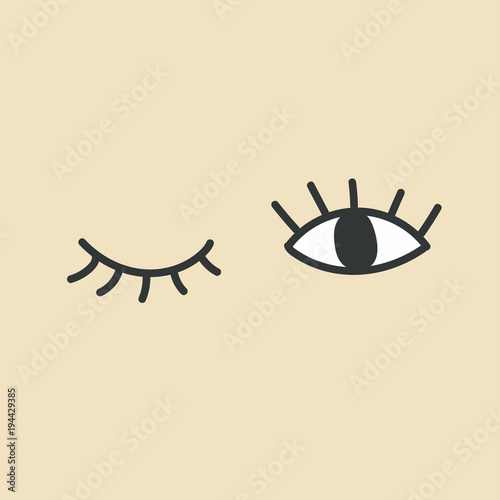 Hand drawn eye doodles. Open and winking eyes. Wallpaper Mural