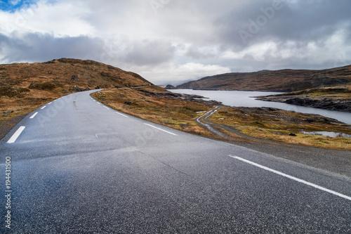 Photo Stands Eggplant Vikafjell Mountain Road