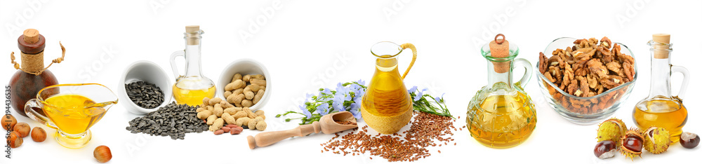 Fototapety, obrazy: Set of vegetable oils, nuts and seeds isolated on white background. Panoramic collage. Wide photo.