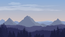 Vector Cartoon Blue Landscape With Silhouettes Of Mountains, Hills And Trees