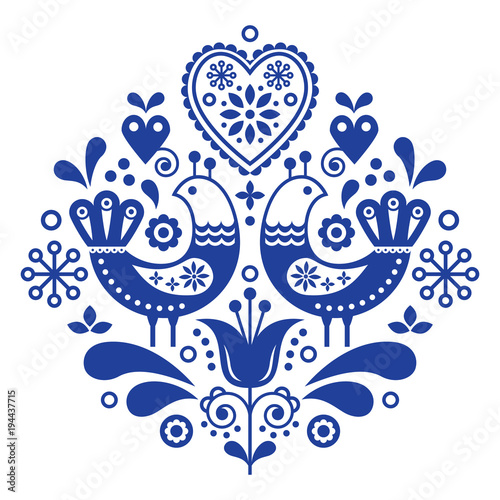 Photo Scandinavian folk art pattern with birds and flowers, Nordic floral design, retr