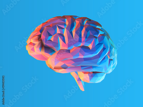 Low poly brain illustration isolated on blue BG Fototapete
