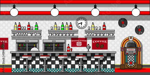 Retro cafe interior flat line vector illustration.