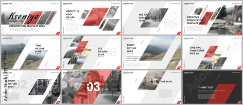 Clean and minimal presentation templates. Red elements on a white background. Brochure cover vector design. Presentation slides for flyer, leaflet, brochure, report, marketing, advertising, business
