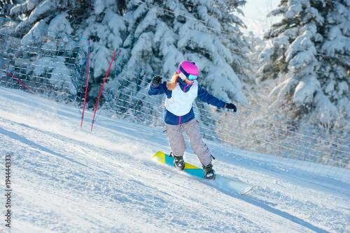 Fotobehang Wintersporten Snowboard racing slalom, winter sports