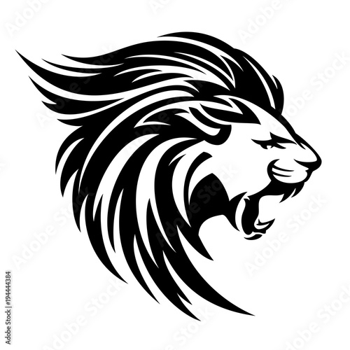 Fototapety, obrazy: roaring lion profile portrait - side view animal head black and white vector design