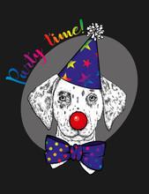 Funny Dog In A Clown Hood, Tie...