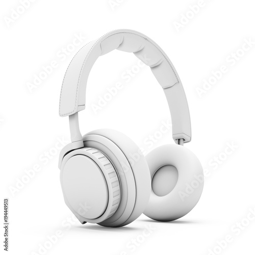 Photo  3D Rendering White headphones isolated on white background