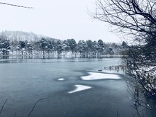 Winter Lakeside Snow Scene, Ampleforth In Yorkshire