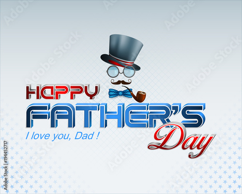 Design, background with 3d texts, eyeglasses, top hat and