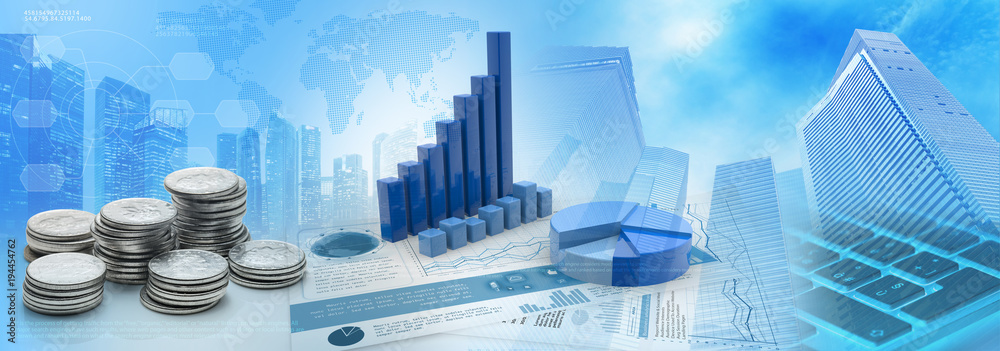 Fototapeta coins and charts in a blue cityscape background