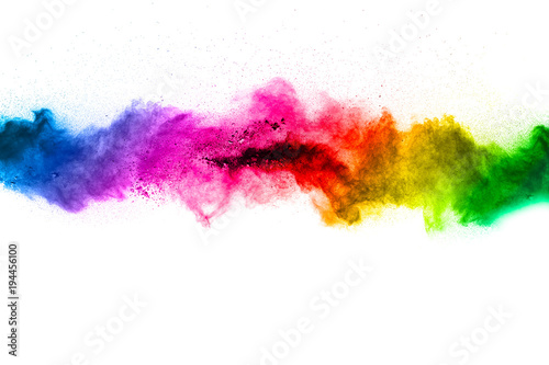 Fotografija Black powder explosion on white background