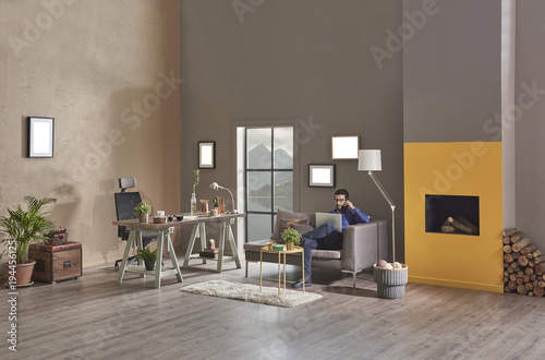New Modern Home Office Decoration Style Interior Grey And Brown