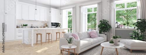 Valokuvatapetti modern living room in townhouse. 3d rendering