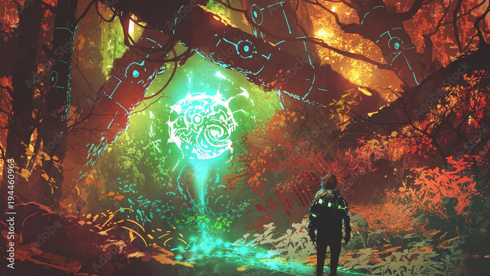 człowiek patrząc na świecące futurystyczne światło w zaczarowanym czerwonym lesie, cyfrowy styl sztuki, malarstwo ilustracja <span>plik: #194460963 | autor: grandfailure</span>