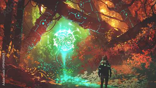 Foto auf AluDibond Schokobraun man looking at glowing futuristic light in enchanted red forest, digital art style, illustration painting