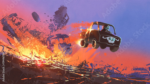 Foto op Aluminium Grandfailure man in skull mask driving a truck coming out of explosion, digital art style, illustration painting