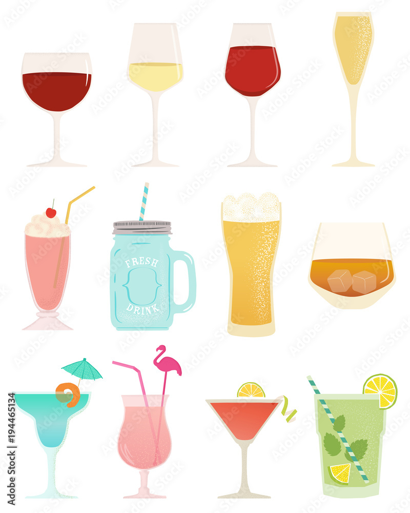 Fototapeta Drink collection vector illustration