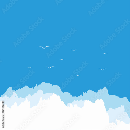 Tuinposter Hemel Sky. Clouds. Blue. Background. Bright. Good weather. For your design.
