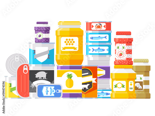 Fototapety, obrazy: Canned goods isolated on white background. Vector illustration