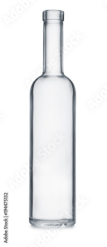 Front view of empty clear glass bottle