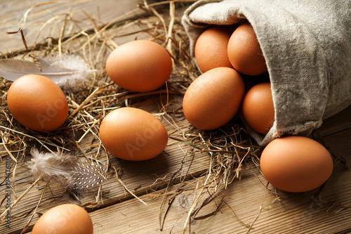 Braune Eier frisch vom Bauernhof