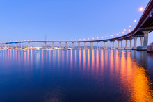 Coronado Bridge At Dusk - A Close-up Dusk View Of Coronado Bridge, Winding Over Calm San Diego Bay, At San Diego, California, USA.