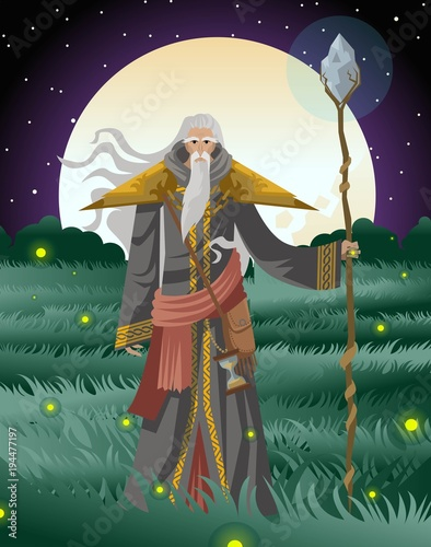 old wise magician with staff Wallpaper Mural