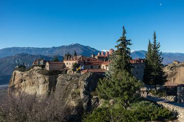 Fototapeta na wymiar St Stefan Monastery in Meteora rocks, meaning