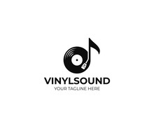 Music Logo Template. Musical Note And Vinyl Record Vector Design. Turntable Illustration