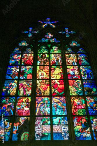 Fotografía  Art Nouveau stained glass window