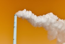 White Steaming Chimney, Abstract, Orange Background