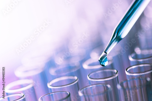 science laboratory test tubes , lab equipment for research new medical Canvas Print
