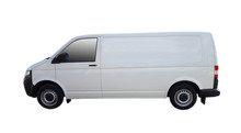 White Delivery Van For Goods Transportation Isolated