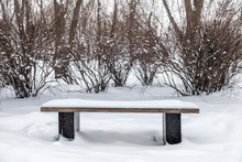Wooden Bench Under The Snow In...