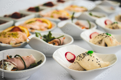 Bowls Of Seafood Appetizers Fingerfood For A Wedding Reception