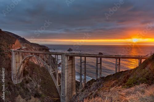 Keuken foto achterwand Bruggen Bixby Creek Bridge on Highway 1 at the US West Coast traveling south to Los Angeles, Big Sur Area, California